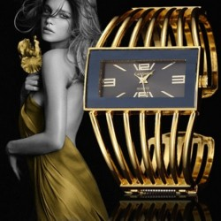 Luxurious bracelet with a rectangle watch - open design