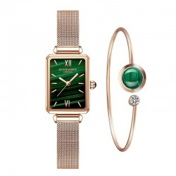 Elegant watch / with bracelet - with a green stone - stainless steel / leather