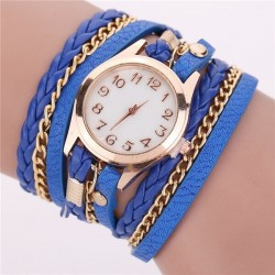 Multilayer leather bracelet - with a round watch