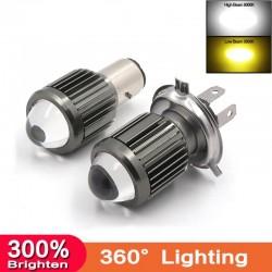 Motorcycle light bulb - H4 / BA20D / P15D - 12V - LED High / Low Beam - 1200LM
