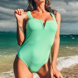 Sexy one piece swimming suit - open V-neck - with push up