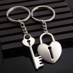 Couple keychain - key / heart shaped lock - 2 pieces