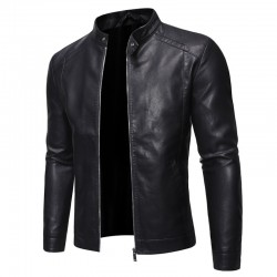 Fashionable men's leather jacket - stand-up collar - with a zipper