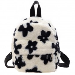 Small plush backpack - with zipper - flowers printing