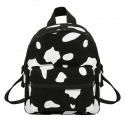 Mini canvas backpack - with zipper - cow milk print