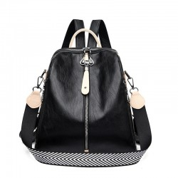Multifunctional backpack - leather shoulder bag - with zippers