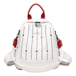 Luxurious multifunctional backpack - shoulder bag - with rivets - genuine leather