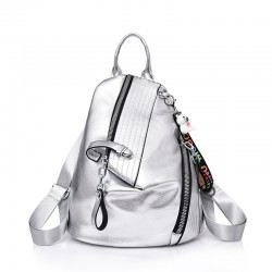 Fashionable backpack - anti-theft zippers - with decorative keychain