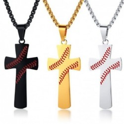 Baseball Cross Pendant Necklace I CAN DO ALL THINGS STRENGTH Bible Verse Amulet Necklace