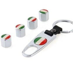 Bandera italiana - tapas de válvulas de coche de metal - con llave - llavero