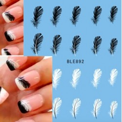 Plumes noires et blanches - stickers ongles - nail art - 20 pièces