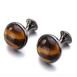 Luxurious round cufflinks - with tiger-eye stone