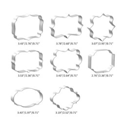 Cookie cutter mold - oval / rectangle / square - stainless steel - 8 pieces