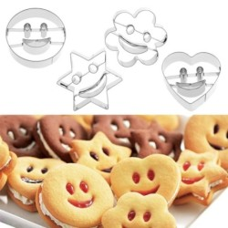 Cookie cutter mold - smiley face - bunny / car / boat - stainless steel - 4 pieces