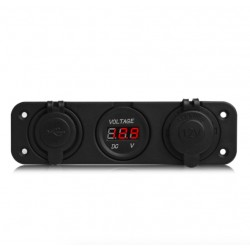 Car Motorcycle Socket Unit With Dual USB - Cigarette Lighter & Digital Voltage Meter Display