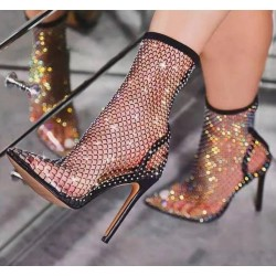 Botas de malla sexy de tacón alto - botas de media pantorrilla transparentes