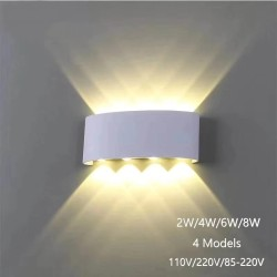 Lámpara de pared moderna de aluminio - luz arriba / abajo - LED - impermeable - 2W - 4W - 6W - 8W