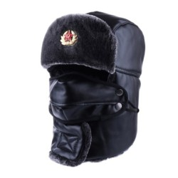 Bomber Hat Russian Ushanka PU Leather Winter Trapper Soviet Badge Army Aviator Trooper Neck Cover Earflap