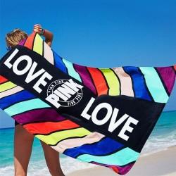 Pink Love design / geometric leaf pattern - bath / beach towel - cotton - 71 * 147 cm
