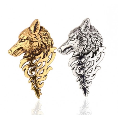 Vintage gold - silver brooch with wolf