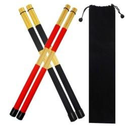 Drum sticks - wooden rods - with storage bag - jazz effect - 2 pairs