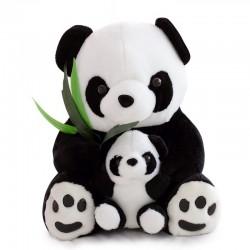 Maman panda avec un bébé panda - peluche - 25 cm
