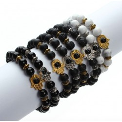8mm black lava energy stone - beads bracelet with The Hamsa hand