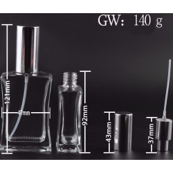 50ml Perfume Bottle Glass Refillable Perfume Bottle With Metal Spray