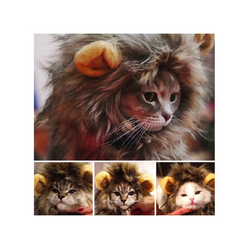 Furry Pet Costume Lion Mane Wig For Cat