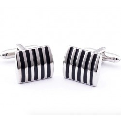 Black - Red stripe square cufflinks