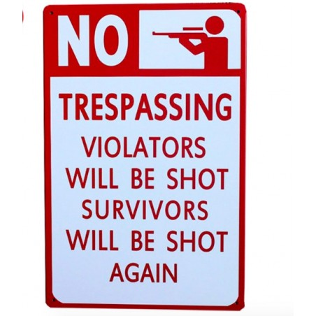 20 x 30cm NO SHOT VIOLATORS SURVIVORS Metal Vintage Poster