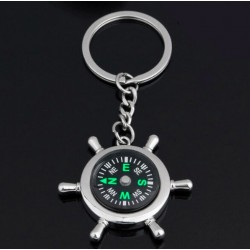 Wheel Rudder Compass Keychain