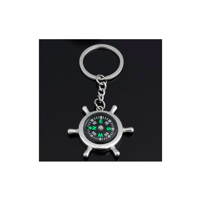 Survival Wheel Ruder Compass Keychain
