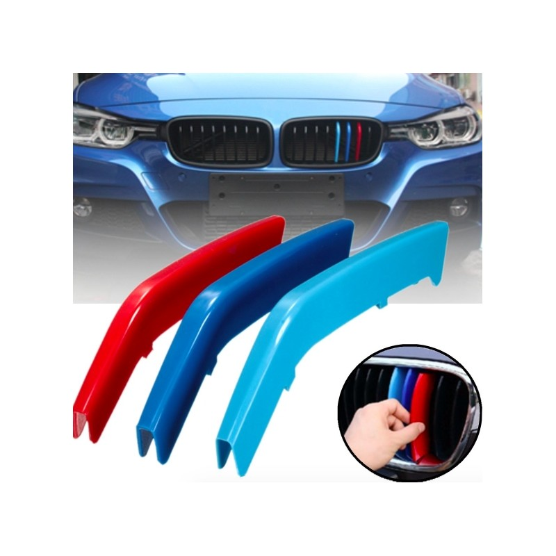 3pcs/set M Color ABS Kidney Grill Bar Grille Covers Decal Strip Clip For BMW 3 Series F30