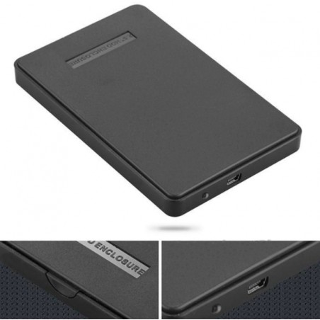"Black External Hard Drive Disk Enclosure Usb 2.0 Sata 2.5"" Inch Portable Case Hdd Support 2TB Hard Drive"