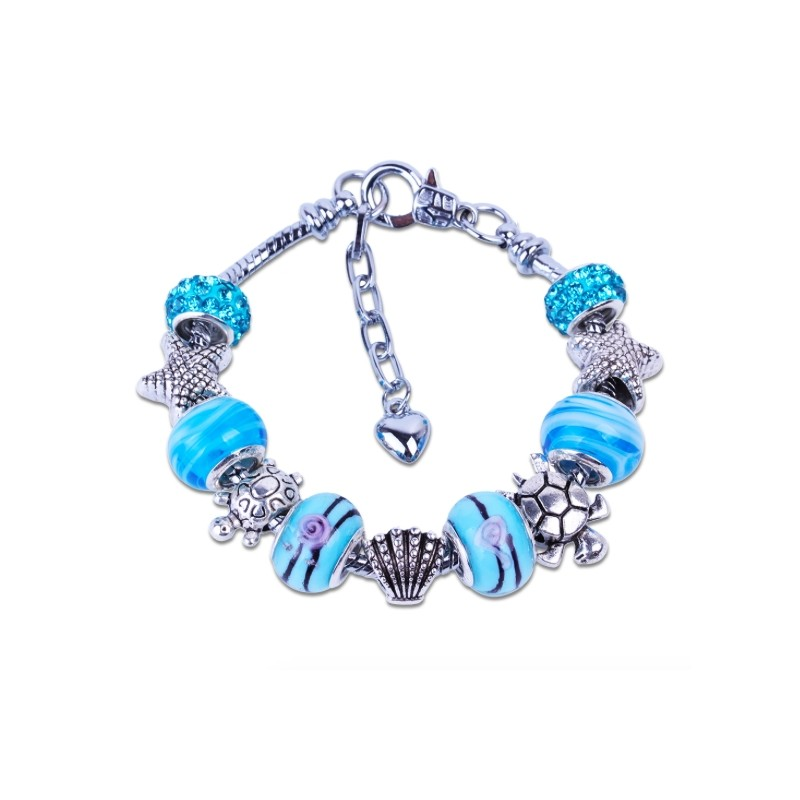 Blue Crystal Rhinestone Bracelet DIY Turtle Starfish Beads