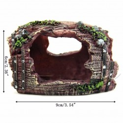 Aquarium Fish Tank Artificial Barrel Resin Ornament Cave Landscaping Decoration
