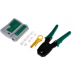 Portable Cable Crimper Tester Wire Stripper 4-in-1 Tool Kit 8pcs
