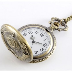 Vintage Soviet Sickle Hammer Style Quartz Pocket Watch Necklace