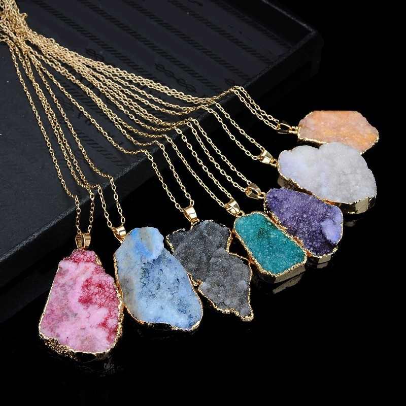 Irregular Shape Crystal Natural Stone Pendant Gold Plated Chain Necklace