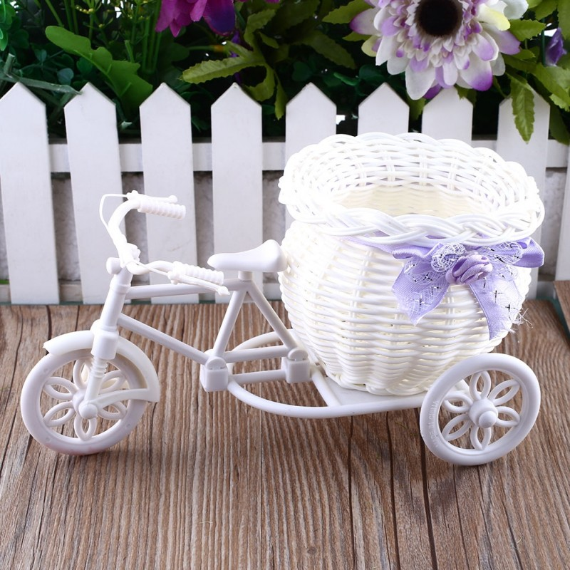 Plastic White Tricycle Bike Design Flower Basket Container