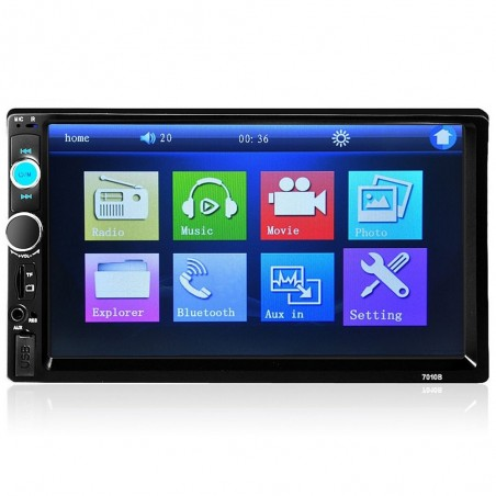 Autoradio Bluetooth - DIN 2 - Écran tactile ACL de 7 po - Lecteur MP3 MP5 - MirrorLink