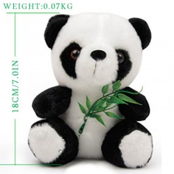 Black and white panda teddy bear - plush - 18cm