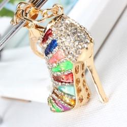 Crystal high heel pump shoe - keychain
