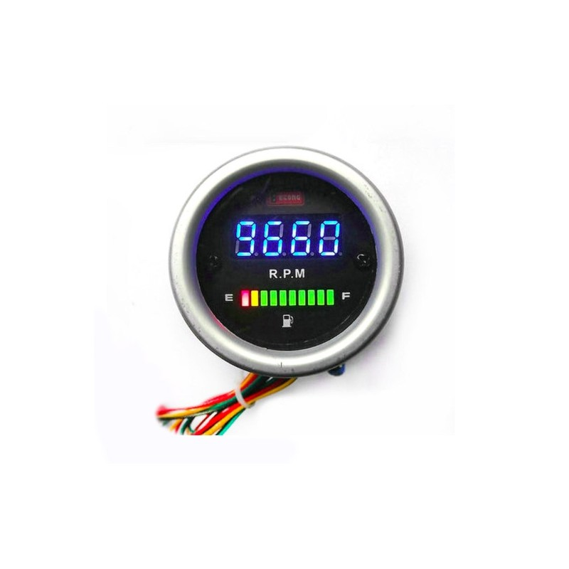 2 Function Waterproof Alu Case 12V LED Motorcycle Oil Fuel Gauge Level Meter + Tachometer Tach Gauge RPM Meter