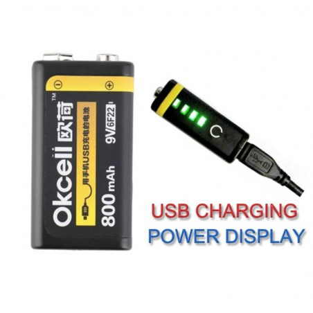 Batterie Rechargeable USB Lithium OKcell 9V 800mah