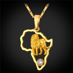 Lion Pendant & Chain Platinum/18K Real Gold Plated Africa Map Necklace