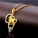 Lion Pendant & Chain Platinum/18K Real Gold Plated Africa Map