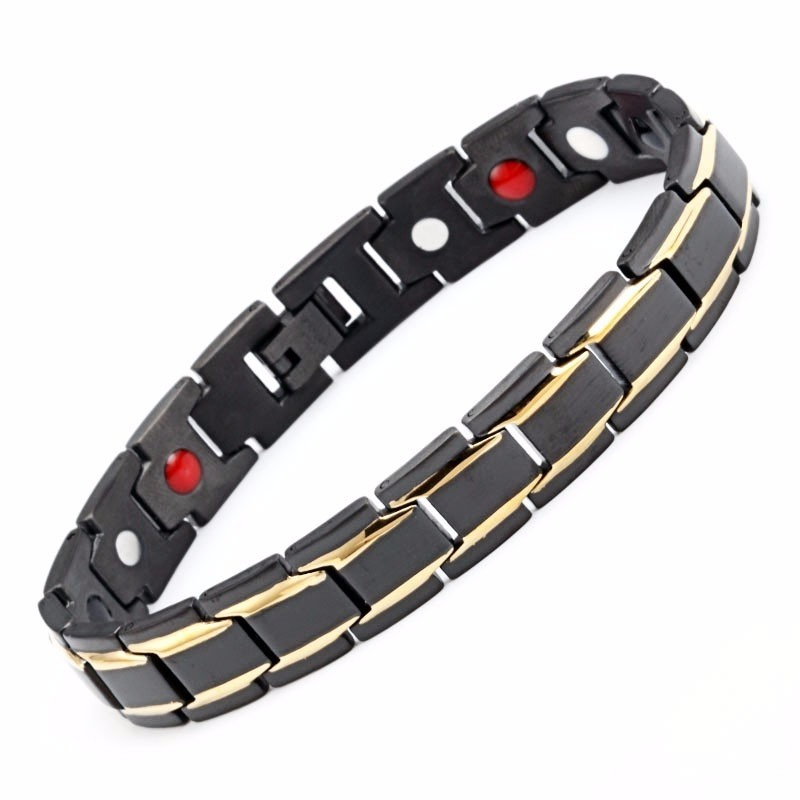 Men's Stainless Steel Black Health Bracelet & Bangle