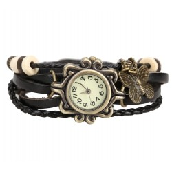 Butterfly Pendant Antique Leather Bracelet Watch